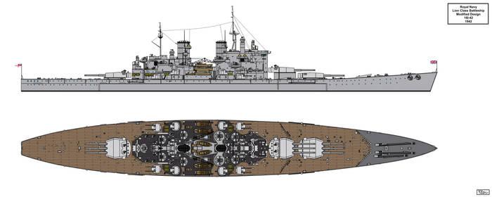 Modified Lion Class Battleship Design 16I-42 by Tzoli