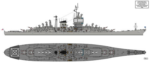 USS Kentucky Guided Missile Battleship 1956 by Tzoli