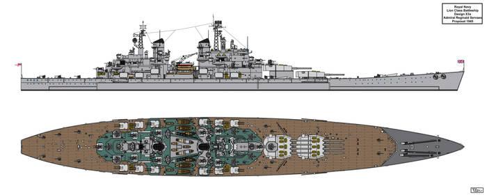 Lion Class Battleship Design 1945 X3a