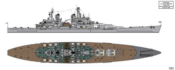 Lion Class Battleship Design 1945 X3b