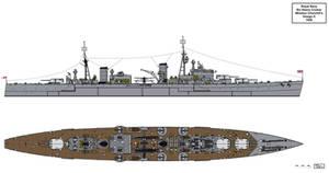 Royal Navy Churchill Type Heavy Cruiser Design E