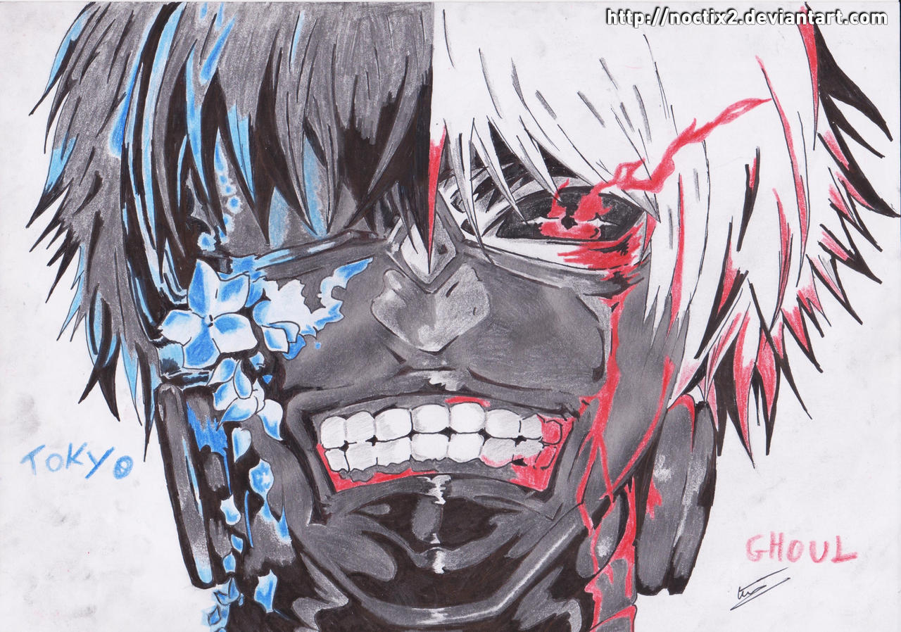 Tokyo Ghoul - Kaneki Ken - flowers and blood by noctix2