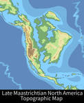 Late Maastrichtian North America Topographic Map