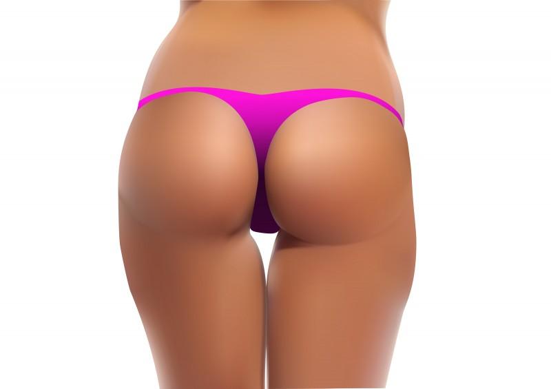 Wife trying on bikini