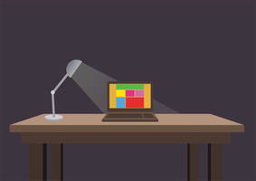 Flat Table With Lamp And Notebook by superawesomevectors