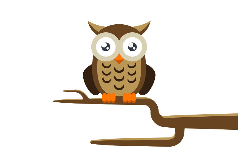 Owl on a Branch Free Vector by superawesomevectors