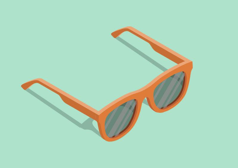 Isometric Vector Orange Sunglasses by superawesomevectors