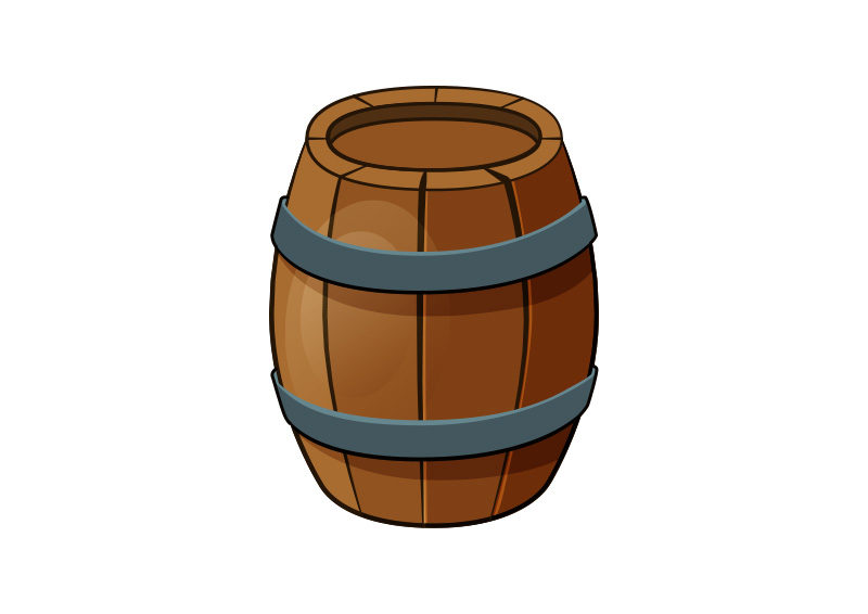 Cartoon Style Wooden Barrel Vector By Superawesomevectors