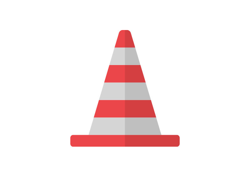 Traffic Cone Flat Vector Icon by superawesomevectors