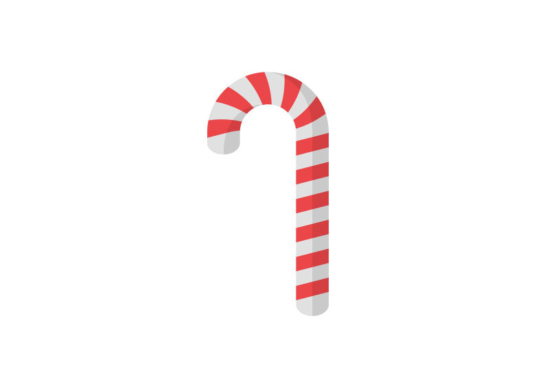 Candy Cane Flat Vector Icon by superawesomevectors