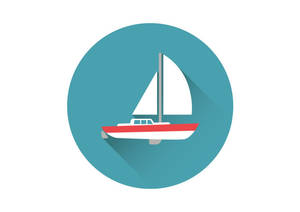 Sailing Yacht Flat Vector Icon