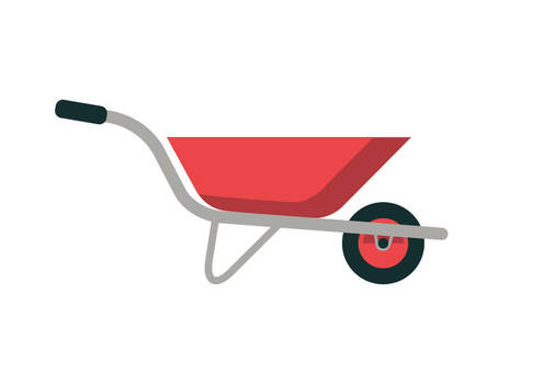 Wheelbarrow Flat Vector