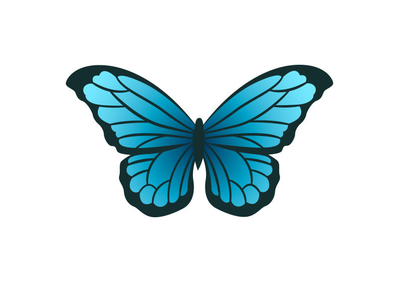 Blue Butterfly Vector by superawesomevectors