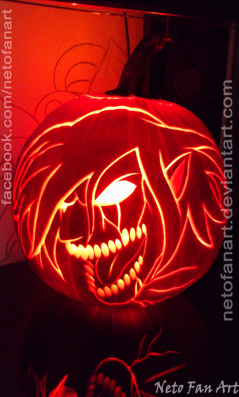 Shingeki no kyojin eren titan pumpkin carving by