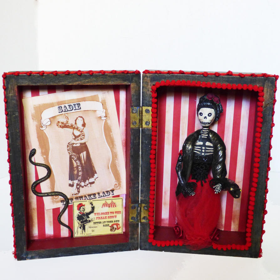 Snake Charmer Skeleton Art Doll Shadow Box by NacreousAlchemy