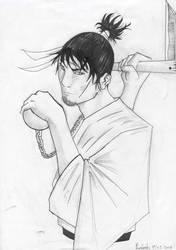 kusarigama warrior sketch by beto
