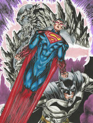 Supes-Bats-Doomsday-colored by ChargedGraphite