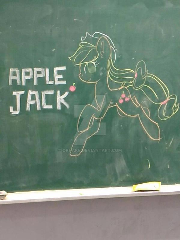 Drawing AppleJack on blackboard by OPHake