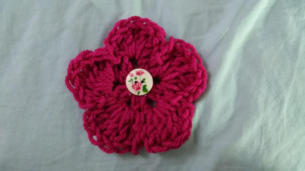 New crochet flower hair clip by Bella-Who-1