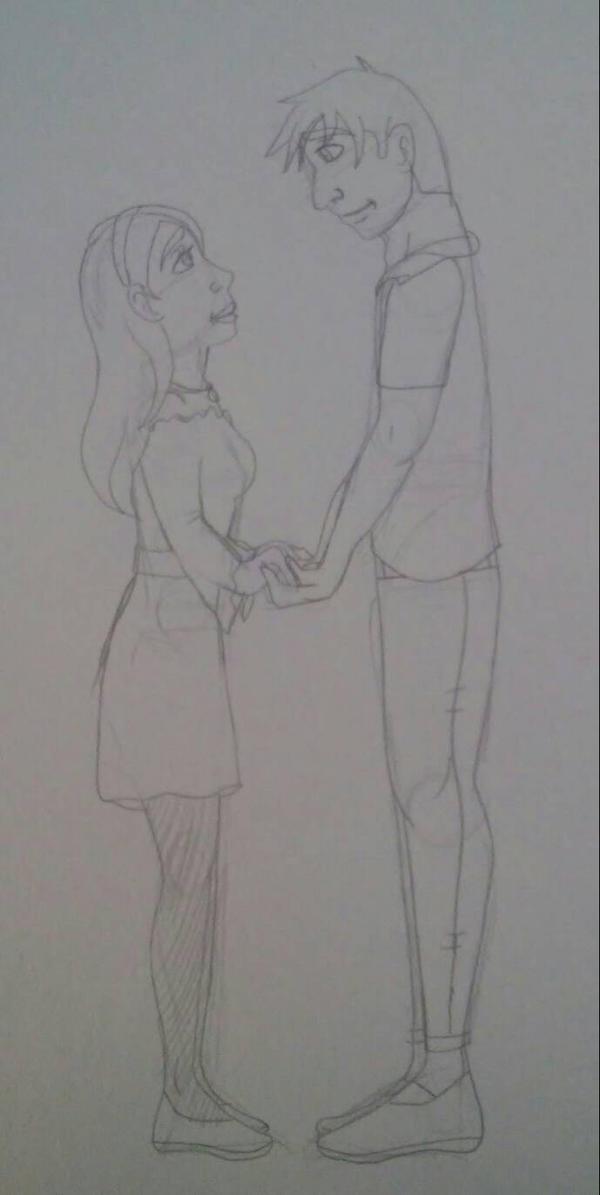 Sakura and Tadashi date sketch by Bella-Who-1