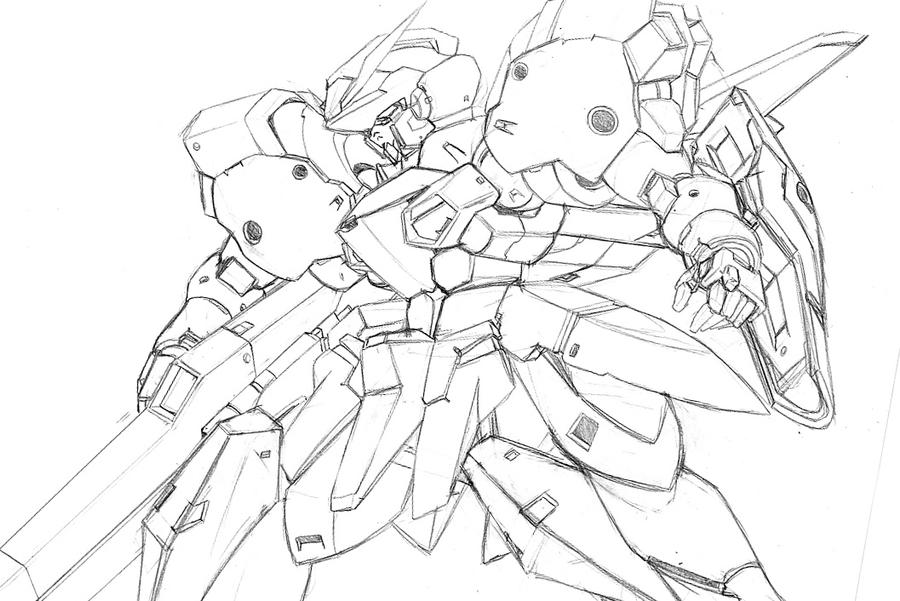 GRM Gundam sketch by Rekkou