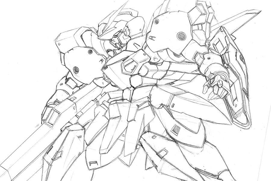 GRM Gundam sketch by Rekkou