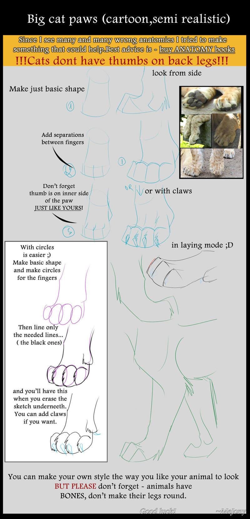 Tutorial - Big cat paws by mejony