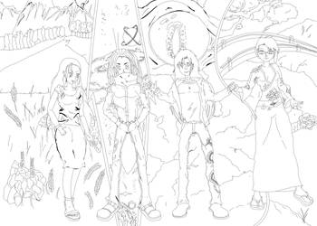 Four Generals LineArt by Mejinomaru