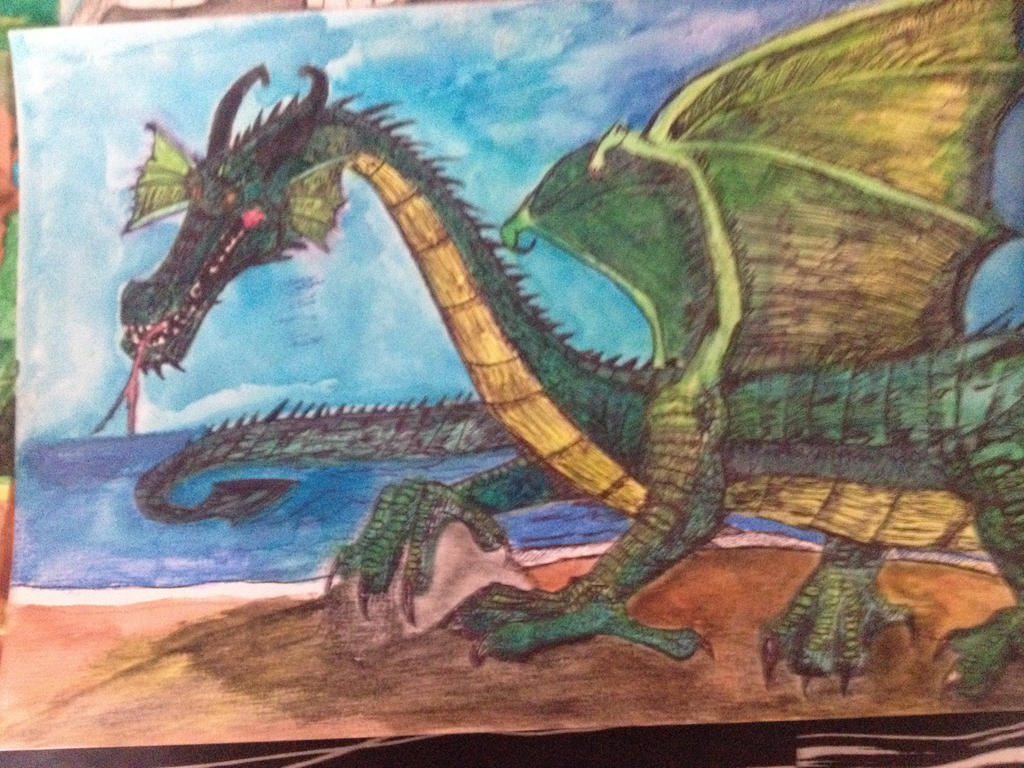 Green European Dragon Approaches ( Full Colored)  by Dragonfire810
