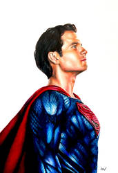 Superman Colour Pencil Drawing