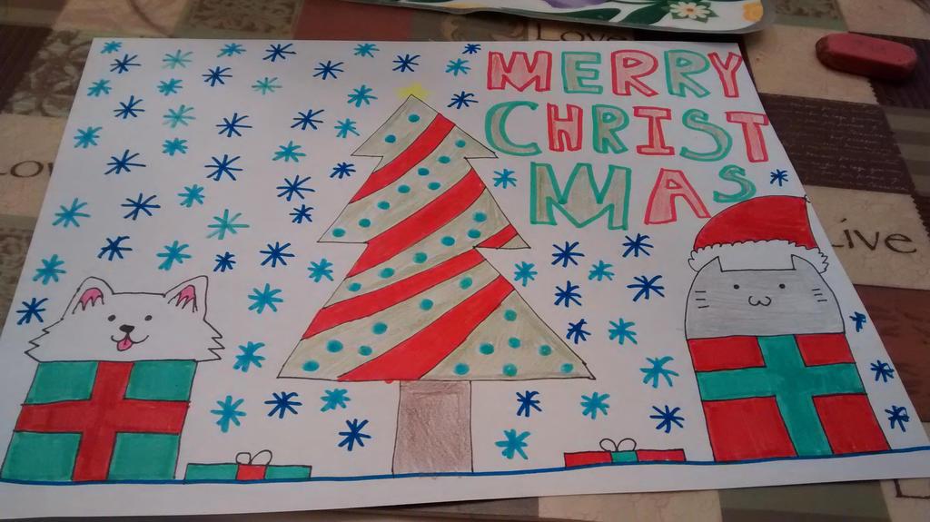Merry Christmas Drawing by Aqua2616