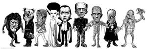 MASTERS OF HORROR!! Ink drawing.