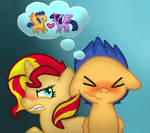 Sunset Shimmer and Flash Sentry