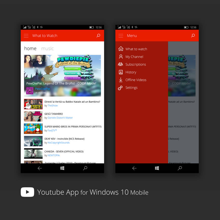 Youtube on Windows 10 Mobile - Concept by bannax1994 on DeviantArt