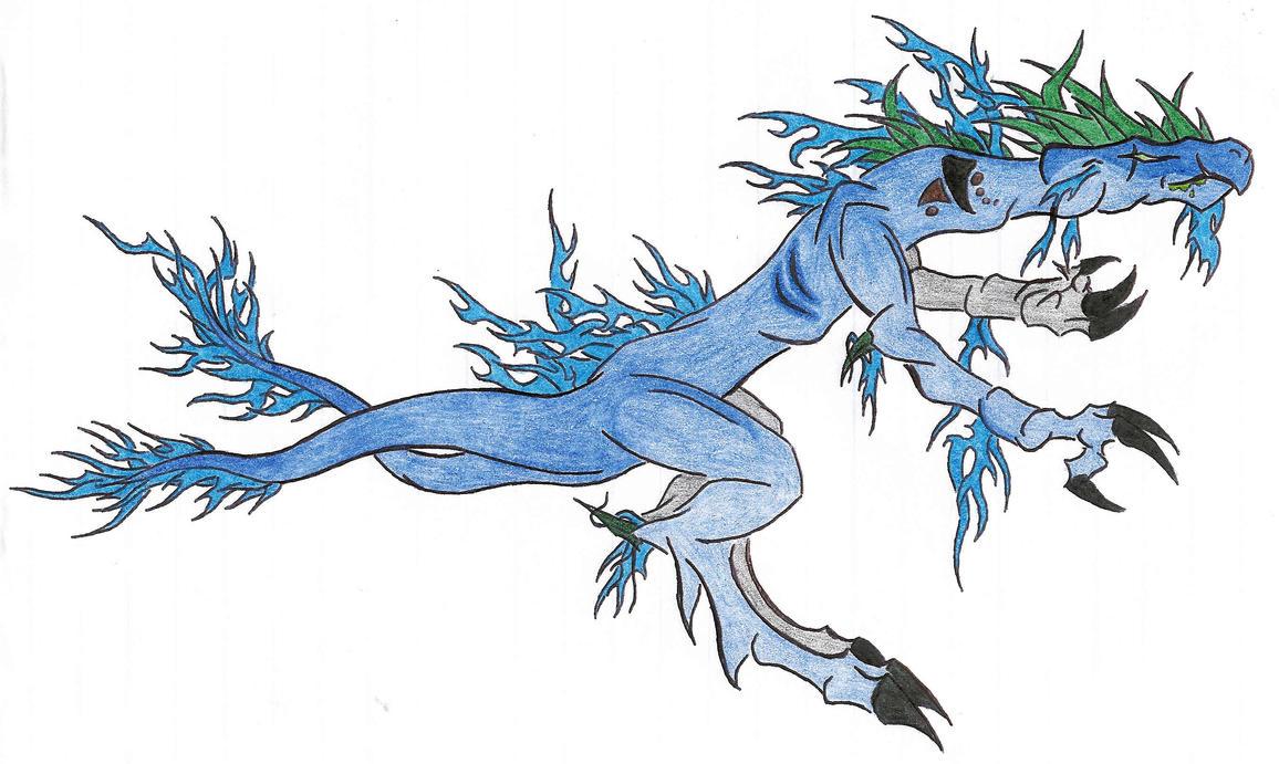 blue flaming dragon