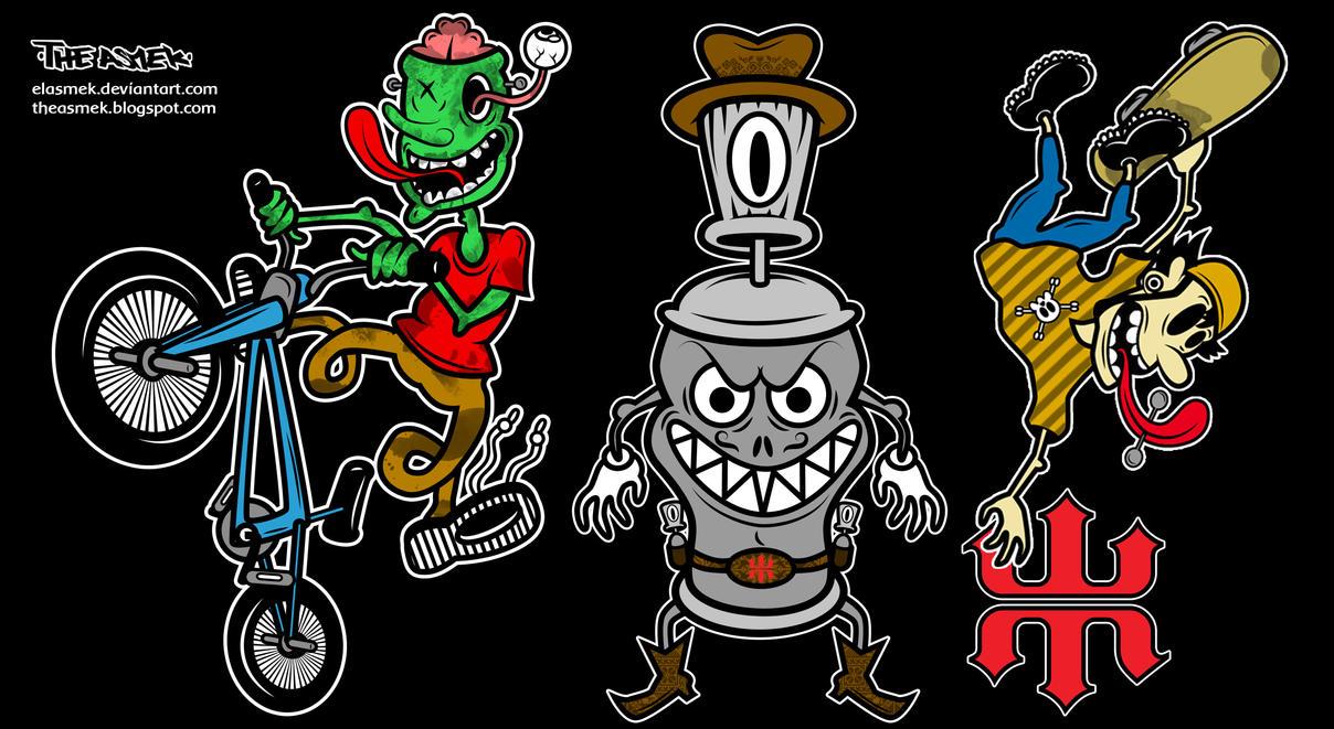 Personajes para etiquetas ilustradas by ElAsmek