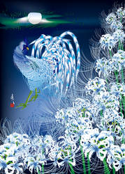 Blue Rooster with  Lycoris