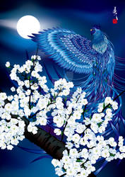 Blue Rooster in Cherry blossom