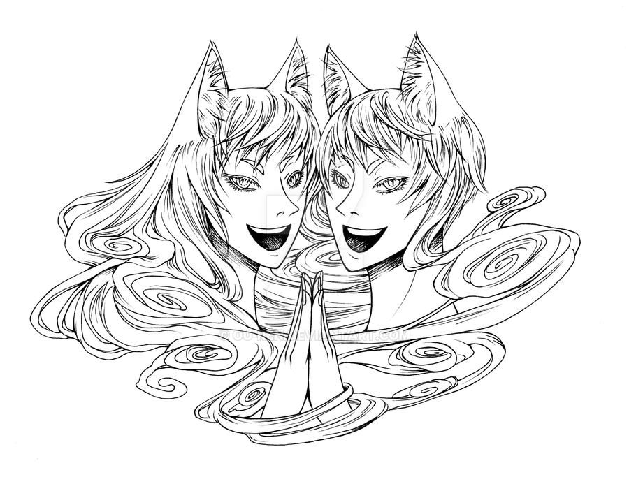 Commission Sample: Kitsune Inkheads by Ou-ren