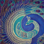Square Peacock Painting