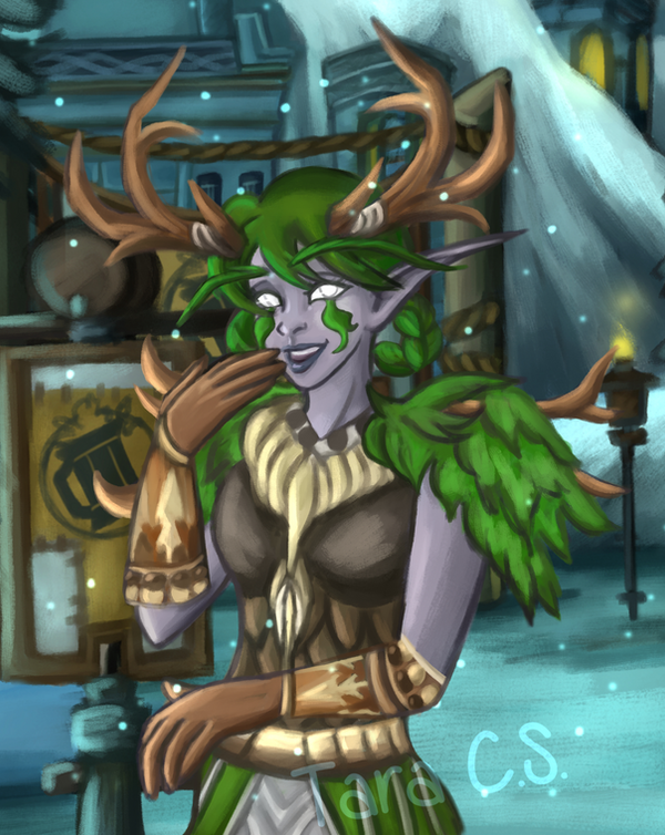 Character Portrait - Night Elf Druid (Commission) by TaraOBerry