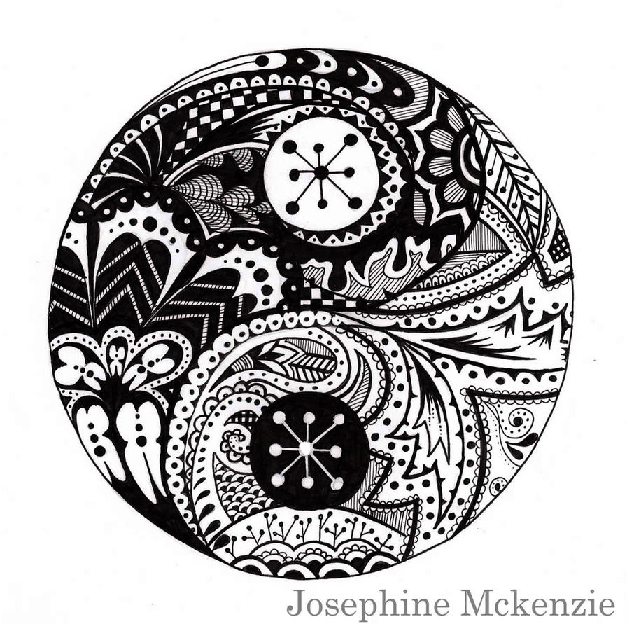 Ying and yang zentangle by amigoamiga on deviantart for Ying yang coloring pages