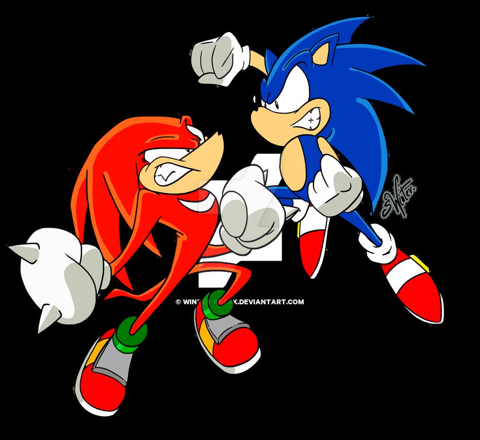 Sonic VS Knuckles by Winter-Freak
