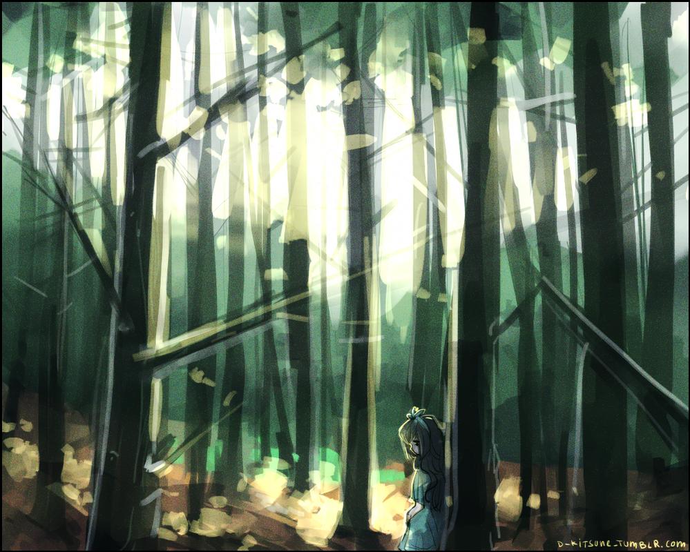 Speedpaint - Forest by D-Kitsune