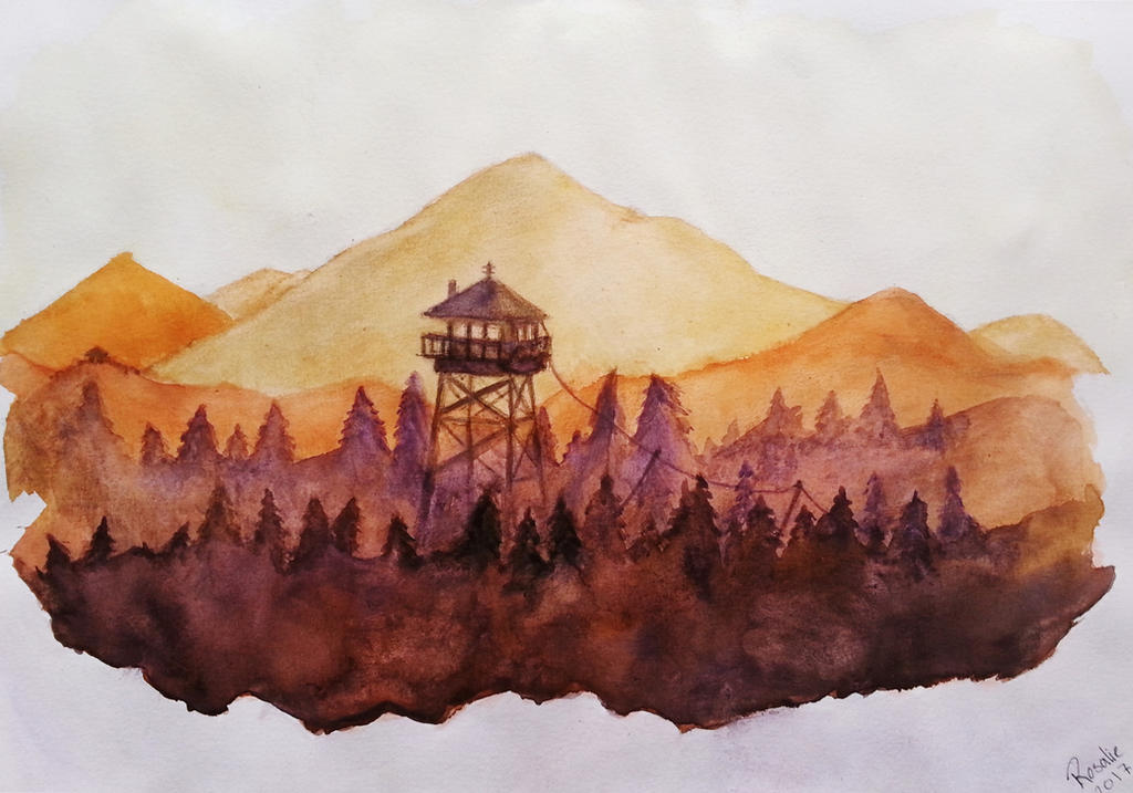 Firewatch - Watercolor by AdventureWoman