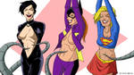 Catwoman, Batgirl, and Supergirl tickled