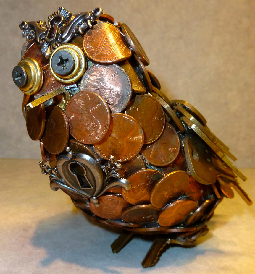 Owl made of keys and pennies by littletokori on deviantart for Art made with keys