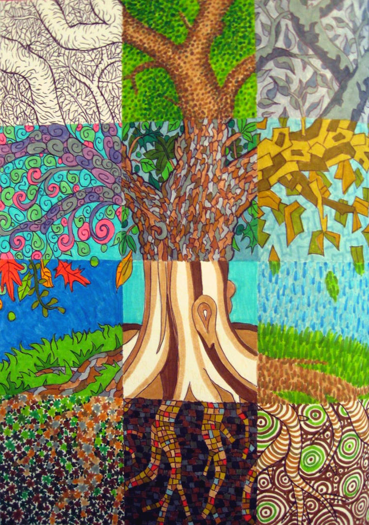 Patchwork tree by madelei on deviantart for Different types of paintings