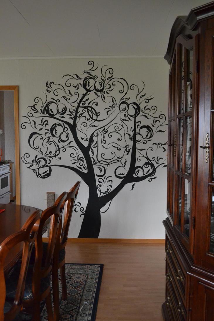 Stylized apple tree wall painting 2 by Bajgreta
