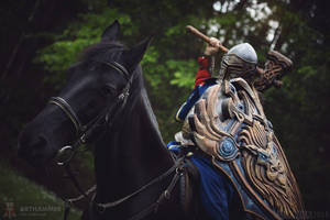 Fantasy mounted warrior cosplay